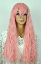 Hot Sell Fashion Long Pink Fluffy Small Wavy Women's Lady's Hair Wig Wigs + Cap