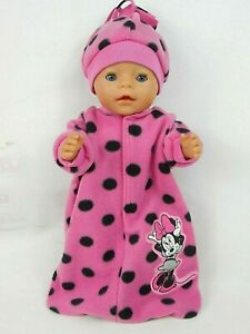 """Dolls clothes for 17"""" BABY BORN DOLL~MINNIE MOUSE~PINK/SPOTTY SLEEPING BAG~HAT"""