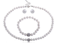 Faux Pearl Rhinestone Three Piece Earing Bracelet long necklace Set