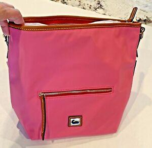 Dooney & Bourke  Pink Nylon  Leather Small Hobo Crossbody Bag