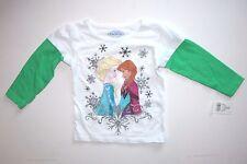 NWT NEW Christmas Frozen Elsa Anna Snowflake T-shirt 2T Girl Toddler White/Green