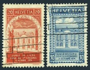 Switzerland 204-205,used.Michel 192-193. UPU-50,1924.Congress building.