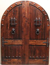 RUSTIC SOLID wood reclaimed Lumber double doors speakeasy winery castle arched