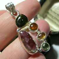 Sterling Silver 12.34cts Natural Rainbow Tourmaline Gem Stone Necklace PENDANT