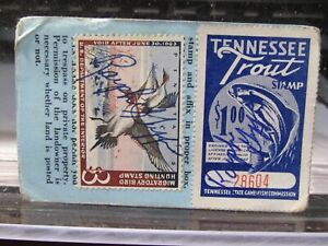 RARE 1963 HUNTING SPORT FISHING LICENSE WITH STAMPS RALPH GRIFFIN KNOXVILLE TN