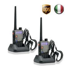 Italia 2x BaoFeng UV-5R Plus V/UHF 2M/70cm 5Km RICETRASMITTENTE FM Walkie Talkie