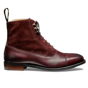 Handmade Men's Two Tone Burgundy Leather Suede Toe Caped Jodhpur Lace Up Boots