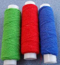 Thread Oddments - Shirring Elastic 3 Spools - 1 x Red 1x Green & 1 x Blue