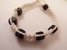 Men's Wood Beaded Macrame Hemp Loop Closure Bracelet #3 6 1/2 Inches