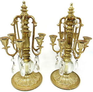"""Candle Holder 6 Arm Candelabra Gold Metal Crystal Teardrops 10"""" Tall for 1/2"""""""