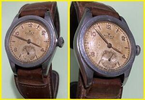 40s Vintage ROLEX OYSTER 2595 ORIGINAL PRECISION DIAL STEEL WATCH