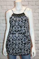 VALLEYGIRL Brand Blue Printed Beaded Neck Cami Top Size 8 BNWT #SH70