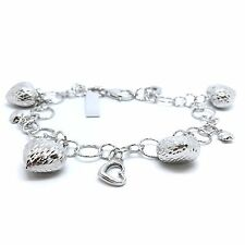 18K White Gold Diamond Cut Heart and Star Charm Bracelet 9.52 Grams