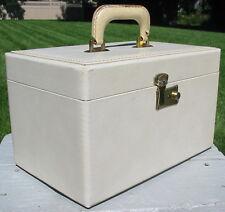 Vtg Cream Vinyl Coated Wood Wooden Train Cosmetic Case Luggage Mirror Antique