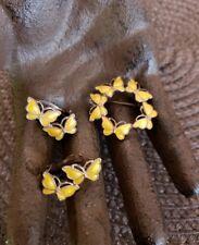 Volmer Bahner VB Sterling Denmark yellow enamel Butterfly Brooch earring set B85
