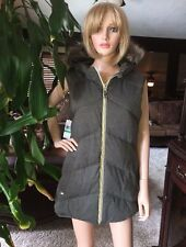 Michael Kors Reversible Faux Fur Hood Down Vest Sz S OLIVE NEW $150