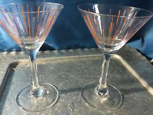 Vintage Cointreau Martini Glasses two petite purple line design signed exc
