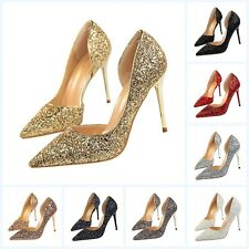 Womens Club High Heels Pointed-toe Stiletto Shoes Ankle Straps Sequins Sandals