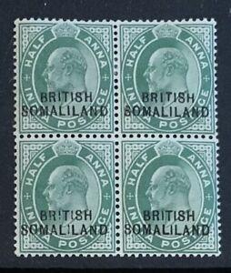 BRITISH SOMALILAND SG25  'I ' PARTIALLY OMITTED ..BLOCK OF 4 UM/LMM