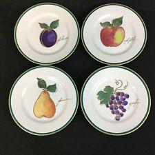 "4 Crate Barrel Fruit Apple Plum Pear Grape 8.25"" Salad/Dessert Plates Gold Trim"