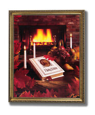 Holy Bible Fireplace Candles Floral Religious Wall Picture Gold Framed Art Print