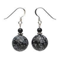 Ohrringe Ohrhänger aus Obsidian & Onyx, 925 Silber, schwarz grau, Ohrschmuck