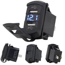 12V Dual Port USB Charger Socket Blue LED Voltmeter Rocker Switch Panel Car Boat