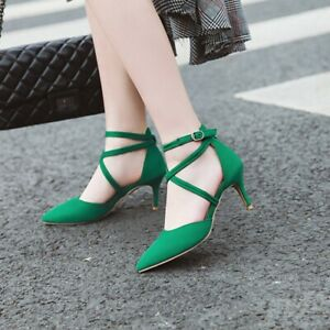 Ladies Stilettos Heels Pointed Toe Pumps Cross Strap Buckle Spring Casual Shoes