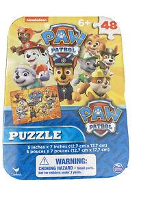 "Paw Patrol Mini Puzzle Collector Tin 48pc New Sealed 5"" x 7"" Age 6+ Jigsaw"