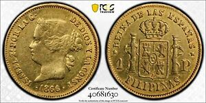 1866 Spanish Philippines Isabel II One Peso Gold Coin PCGS Genuine XF Details