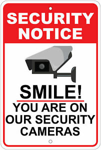 "Smile, You're On Camera - Surveillance Advisory 8""x12"" Aluminum Sign"