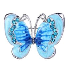 Fashion Silver Blue Butterfly Crystal Brooch Pin Women Lady Costume Jewelry Gift