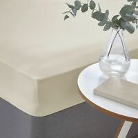 Cream 100% Egyptian Cotton Sateen Luxurious 400 Thread Count Fitted Bed Sheet