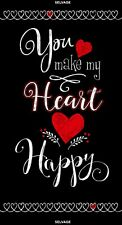 You Make My Heart Happy Panel-Chalkboard Look-Black-Red-White-Timeless Treasures