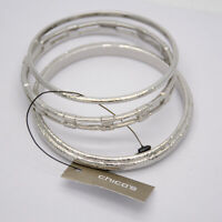 NWT chico's jewelry triple bangle unique polished silver tone bracelet for women