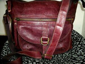 Fossil Sasha Very Nice Large Burgundy Distressed Leather Cross-body Bag  EUC!