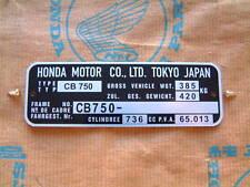 Honda CB750 registered type name plate identification