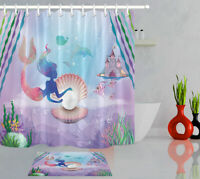 Cartoon Mermaid Underwater Bathroom Set Decor Polyester Shower Curtain Hooks