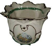 "Vintage Ceramic Plant Pot Hand Painted Green Red Vase Purple Flowers 6.5"" Decor"