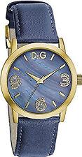 Orologio D&G Ladie's DW0690 in pelle blu cassa gold moda donna brillantini