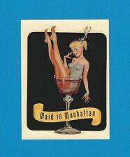 """VINTAGE ORIGINAL 1948 SEXY BLONDE """"MAID IN MANHATTAN"""" PINUP WATER DECAL ART"""