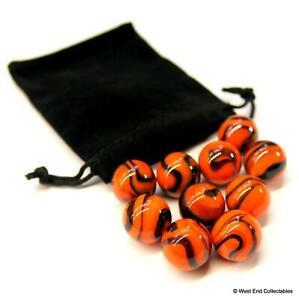 10 x 16mm Stunning Tiger Stripe Swirl Orange Toy Glass Marbles in Gift Bag
