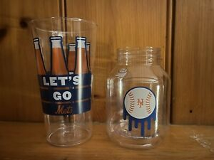 Clear New York Mets Hard Plastic Souvenir Cup and Jar