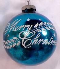 Merry Christmas Ornament Mercury Glass Ball Blue White Decals Shiny Brite #211