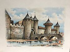 Carcassonne castle watercolor painting art france signed 3 Of Them Beautiful !!!