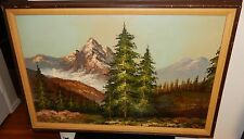 LARGE SNOW MOUNTAIN LANDSCAPE OIL ON CANVAS PAINTING