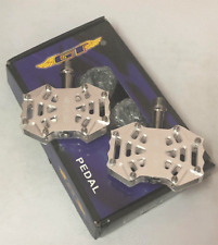 GT MTB / BMX Bicycle Bike Alloy Pedals 9/16 Flat-Platform NOS Spider Silver