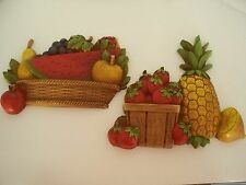 Vintage 2 pc Homco Wall Decor Fruit Basket Apple Strawberry Watermelon