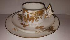 Charles field haviland limoges papillon poignée dorée trio tasse & soucoupe c1880s
