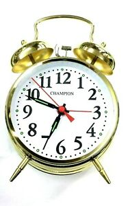 Champion Double Bell Keywound Alarm Clock Gold Brass Metal Case Alarm Clock